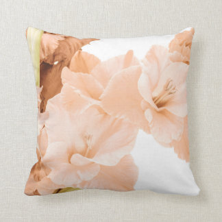 Peach & Green Floral Decorative Cushion