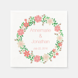 Peach Green Floral Wreath Pattern Paper Napkins