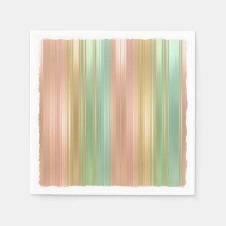 Peach Green Gold Colored Stripes Disposable Serviette