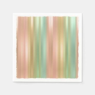Peach Green Gold Colored Stripes Paper Serviettes
