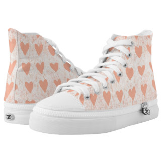 Peach hearts high tops