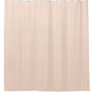 Peach Herringbone shower curtain