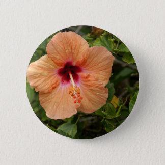 Peach Hibiscus 6 Cm Round Badge