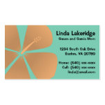 Peach Hibiscus Flowers Mummy Contact Card Pack Of Standard Business Cards