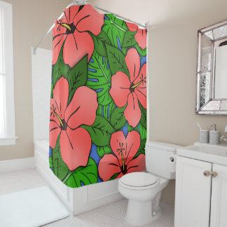 Peach Hibiscus & Monstera #2 Shower Curtain