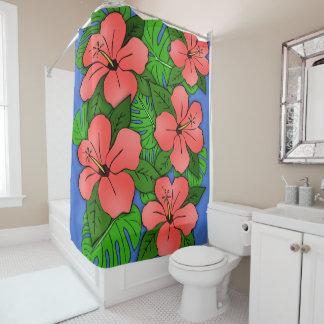 Peach Hibiscus & Monstera Shower Curtain