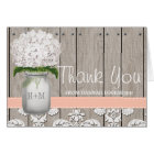 Peach Hydrangea Monogrammed Mason Jar THANK YOU Card