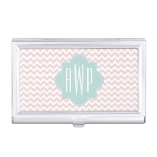 Peach Ikat Chevron Monogrammed Biz Card Holder Business Card Cases