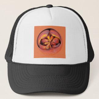 Peach in the globe 2 trucker hat