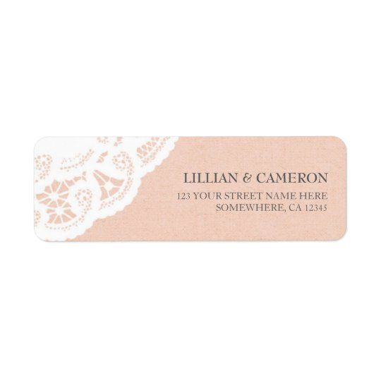 Peach Lace Doily Return Address Labels
