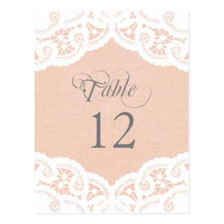 Peach Lace Doily Wedding Table Number Table Cards