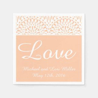 Peach Lace Love Wedding Paper Napkins Disposable Napkin