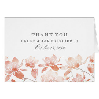 Peach Magnolia Flower Thank You Card