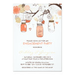 Peach Mason Jars Engagement Party Invitation