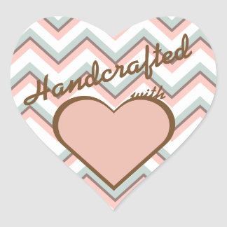 Peach Mint & Brown Chevron Handcrafted With Love Heart Sticker