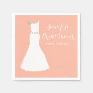 Peach Mint Floral Wedding Gown Bridal Shower Paper Napkin