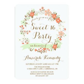 Peach & Mint Floral Wreath Sweet Sixteen Invite