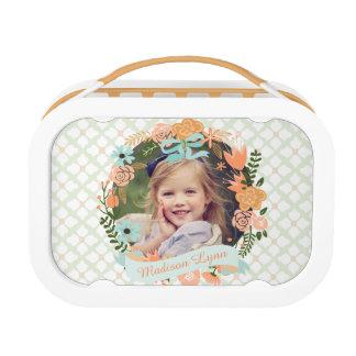 Peach Mint Girly Floral Wreath Photo Custom Lunch Box
