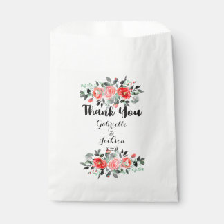 Peach & Mint Peony Watercolor Wedding Thank You Favour Bags