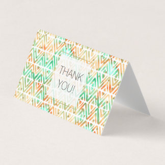 Peach Mint Tribal Watercolor Abstract Thank you Card