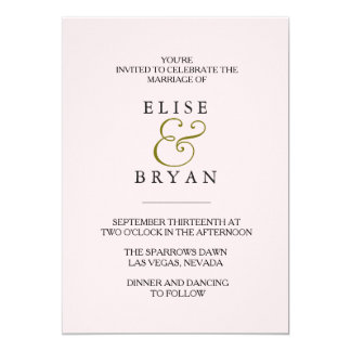 Peach Modern Elegant Wedding Invite