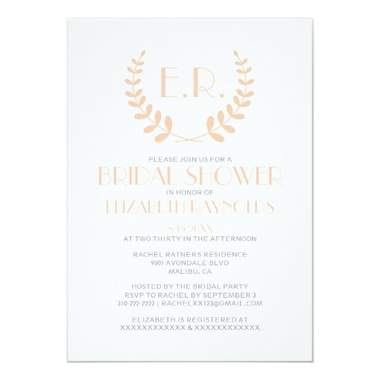 Peach Monogram Bridal Shower Invitations