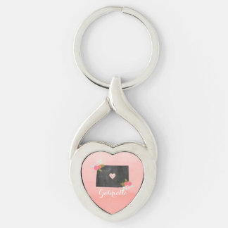 Peach Monogrammed Colorado State Moveable Heart Silver-Colored Twisted Heart Key Ring