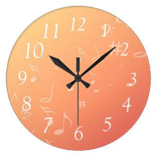 Peach Music Large Clock