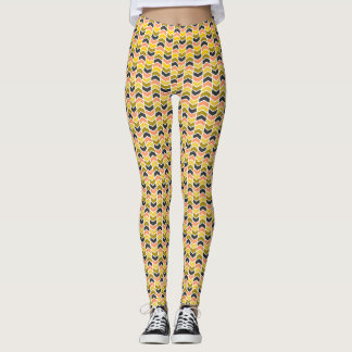 Peach/Mustard/Grey Chevrons Leggings