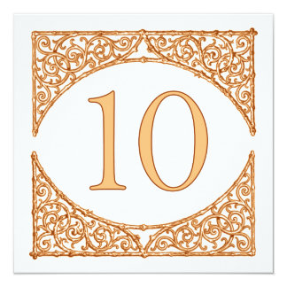 Peach 'n Brown Country Wood Screen Table Number 10 13 Cm X 13 Cm Square Invitation Card