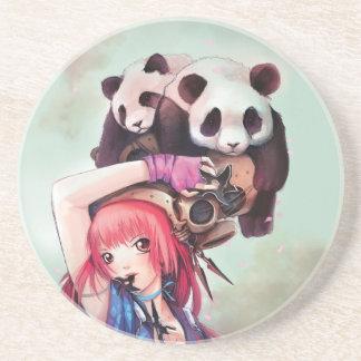 Peach Ninja Pandas Coaster
