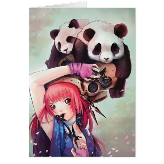 Peach Ninja Pandas Note Card