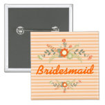 Peach & Olive Green Floral Wedding Bridesmaid 15 Cm Square Badge