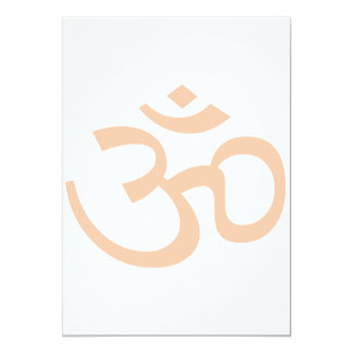 "Peach Om or Aum ॐ.png 5"" X 7"" Invitation Card"