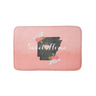 Peach Ombre Arkansas State Floral & Moveable Heart Bath Mats