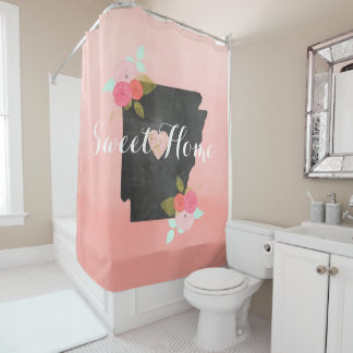 Peach Ombre Arkansas State Floral & Moveable Heart Shower Curtain