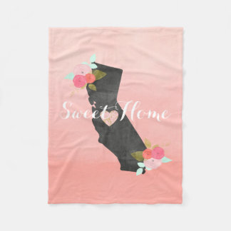 Peach Ombre California State & Moveable Heart Fleece Blanket