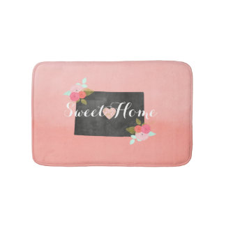 Peach Ombre Colorado State & Moveable Heart Bath Mats