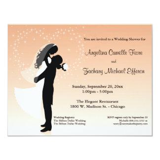 """Peach Ombre Silhouette Formal Shower Invitation 4.25"""" X 5.5"""" Invitation Card"""