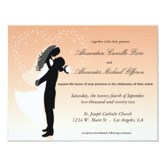 """Peach Ombre Silhouette Formal Wedding Invite 4.25"""" X 5.5"""" Invitation Card"""