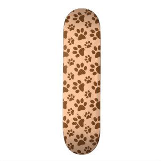 peach orange dog paw print pattern 19.7 cm skateboard deck