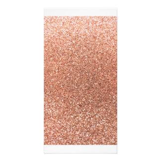 Peach orange glitter personalised photo card