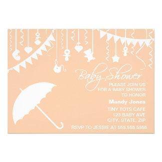 Peach orange umbrella contemporary baby shower card