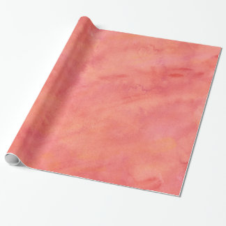 Peach Orange Watercolor Texture Pattern Wrapping Paper