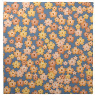 Peach Orange Yellow Blue Floral Pattern Napkin