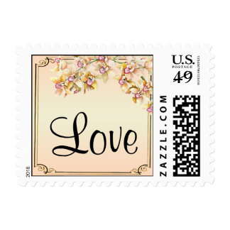Peach Orchid Watercolor Posh Postage Stamp