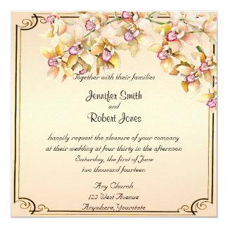 Peach Orchid Watercolor Posh Wedding Invitation