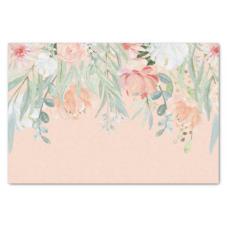 Peach Pale Green Watercolor Flowers Tissue Paper