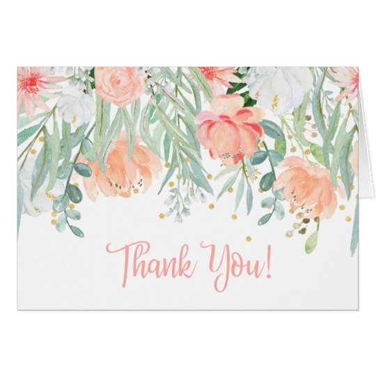 Peach Pale Green Wildflowers Greenery Thank You Card