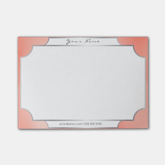 Peach Pastel Candy Minimal Silver Elegant Office Post-it Notes